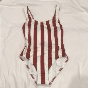 Striped White and Rust one piece size S NWT